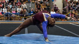 Bayshore's Hayden Davidson performs her floor routine at