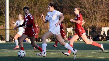 Garden City's Deanna Weisenberger, center, keeps the ball