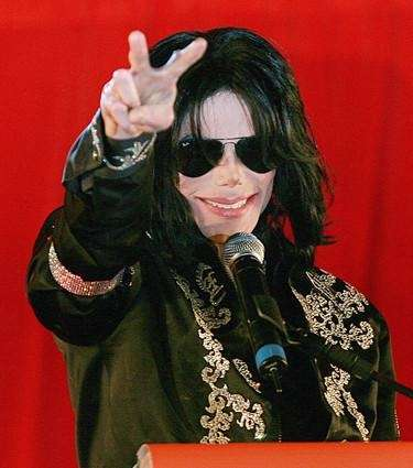 Michael Jackson addresses a news conference at the