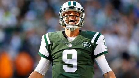 Bryce Petty of the New York Jets reacts
