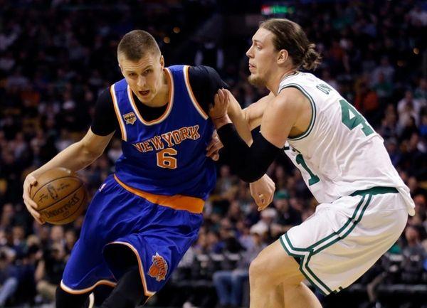 New York Knicks forward Kristaps Porzingis drives against