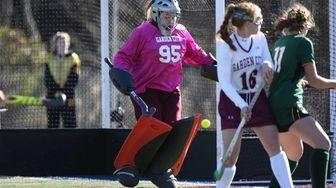 Garden City goalie Ann Sullivan makes a save