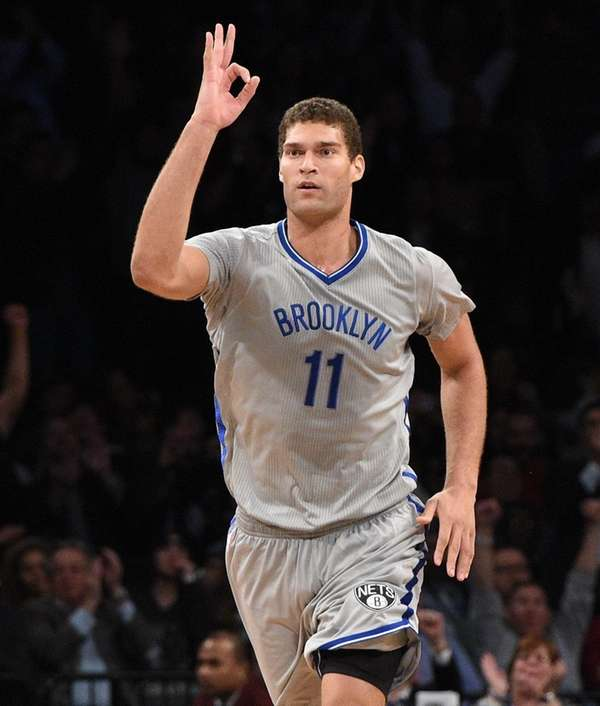 Brooklyn Nets center Brook Lopez reacts after Nets