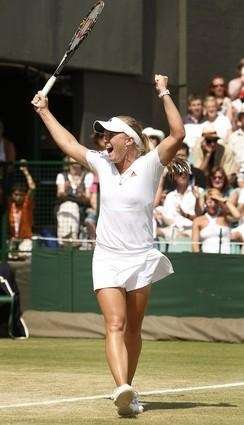 Melanie Oudin reacts at match point. (Sept. 1,