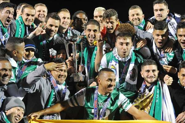 The New York Cosmos celebrate with the NASL