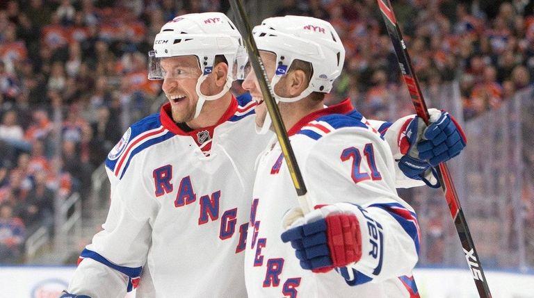 New York Rangers' Michael Grabner and Derek Stepan