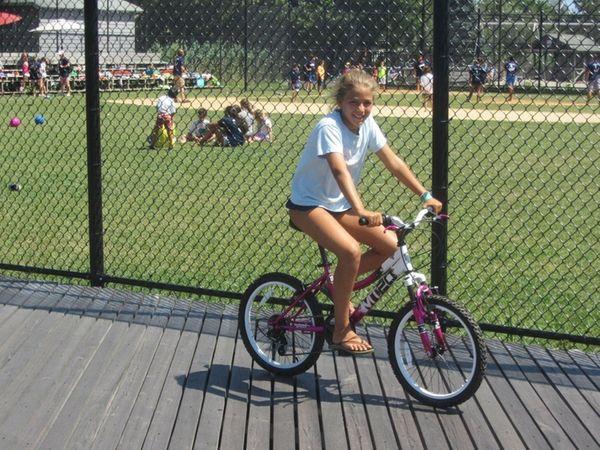 Kidsday reporter Kendall Messler tests the Kent bike.
