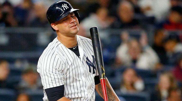 Gary Sanchez of the New York Yankees strikes