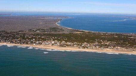 This aerial photograph shows Napeague Lane, at left,