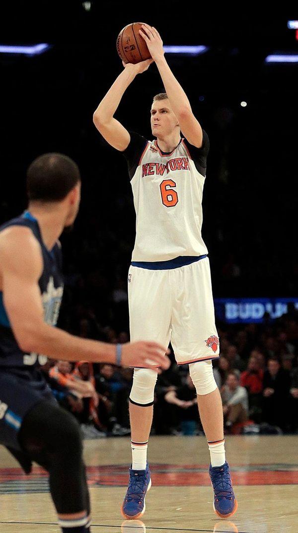 New York Knicks forward Kristaps Porzingis shoots for
