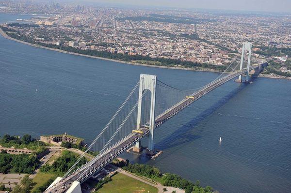 The Verrazano-Narrows Bridge, linking Staten Island and Brooklyn,