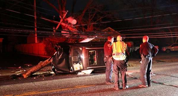 A car crashed into a utility pole on