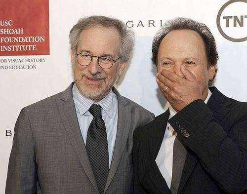 Steven Spielberg, left, with Billy Crystal. Spielberg's charity
