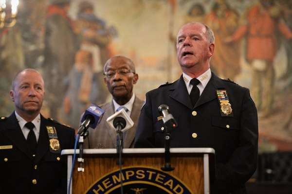 Hempstead Police Chief Michael McGowan speaks as the