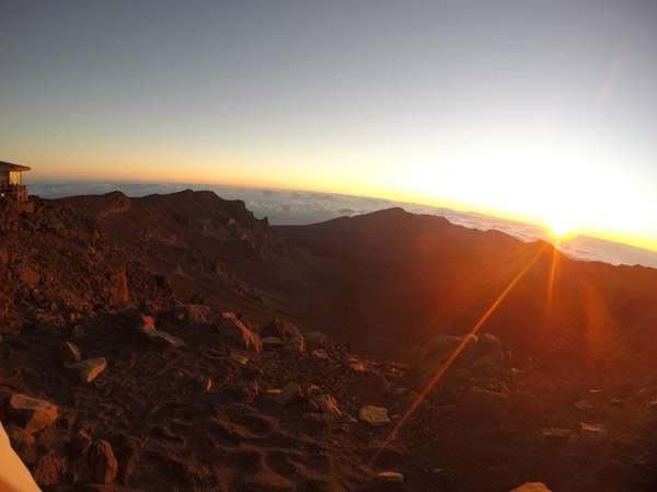 The sunrise makes a strong impression at Haleakala