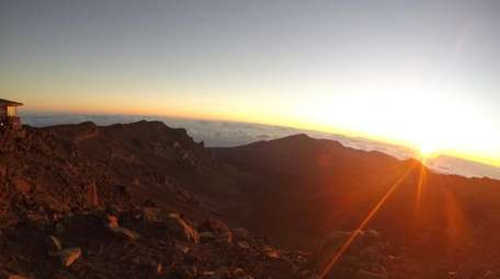 The sunrise makes a strong impression at Haleakala