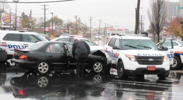 A police SUV was broadsided by a sedan