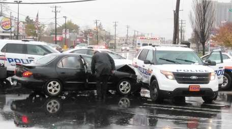 A police SUV was broadsided by a sedan