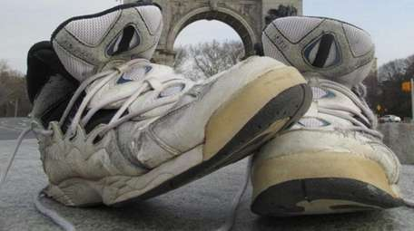 Fred Bruning's well-worn sneakers, which he wears on