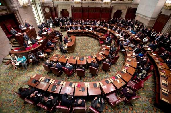 Senators meet in the Senate Chamber at the