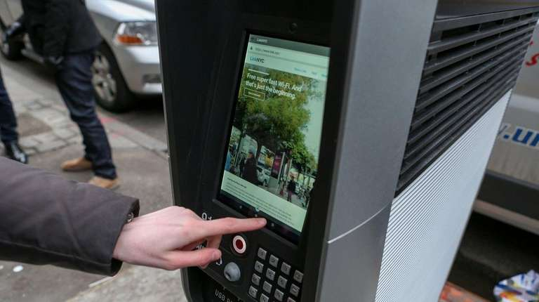 A LinkNYC kiosk at Third Avenue and 15th