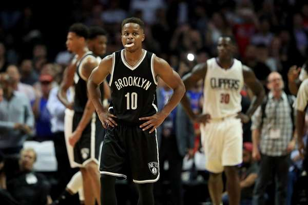 Yogi Ferrell of the Brooklyn Nets looks on