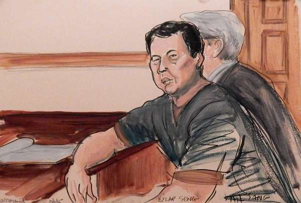 In this courtroom sketch, defendant Ng Lap Seng