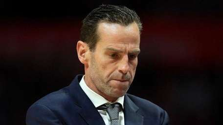 Brooklyn Nets head coach Kenny Atkinson looks on