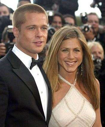 Brad Pitt and Jennifer Aniston arrive for the