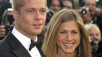Brad Pitt and Jennifer Aniston arrive for the