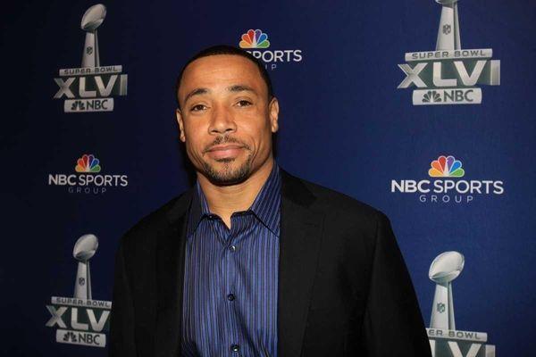 NBC studio analyst Rodney Harrison at the Super