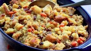 Classic Thanksgiving stuffing is made with cornbread, dried