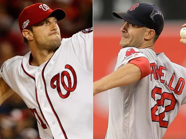 Washington Nationals pitcher Max Scherzer, left, and Boston