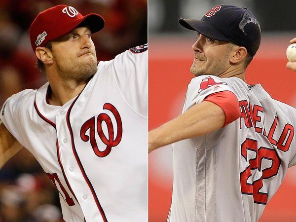 Washington Nationals pitcher Max Scherzer, left, and Boston