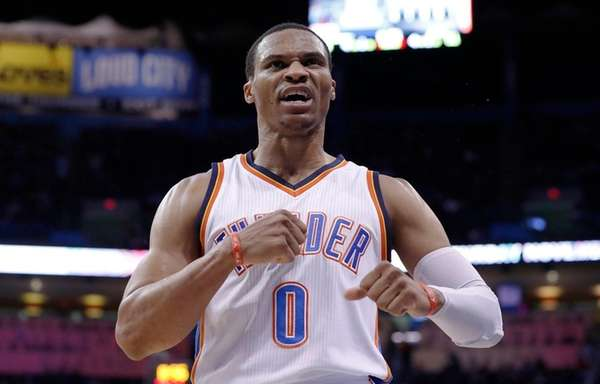 Thunder guard Russell Westbrook reacts after scoring against