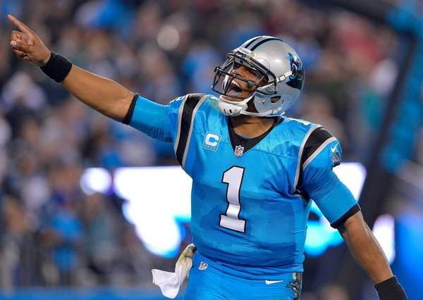 Cam Newton #1 of the Carolina Panthers reacts
