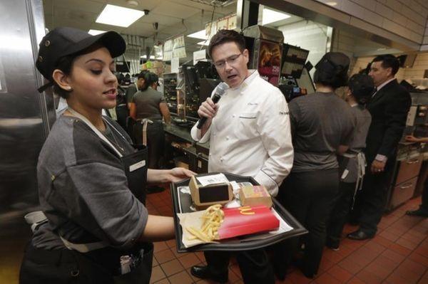 McDonald's executive chef Dan Coudreaut checks an outgoing