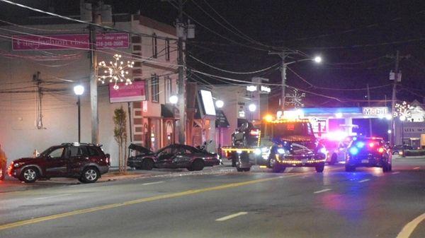Nassau County police investigate a crash on Merrick