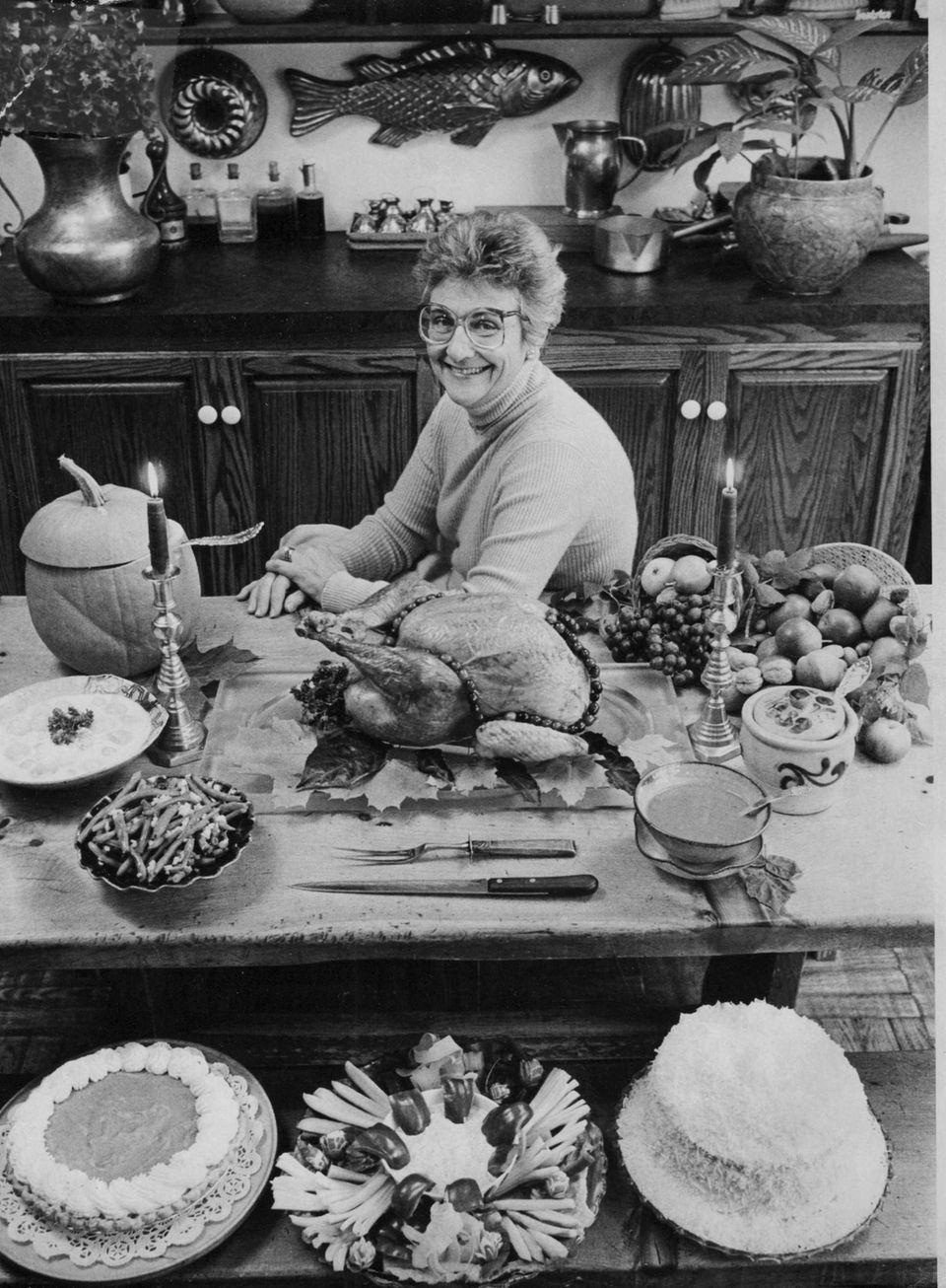 Cooking author and teacher Libby Hillman displays arrangement