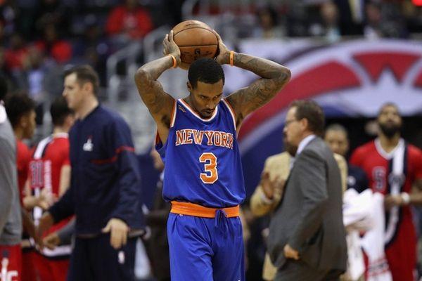 Brandon Jennings of the New York Knicks holds
