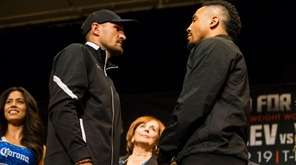Sergey Kovalev, left, and Andre Ward pose for