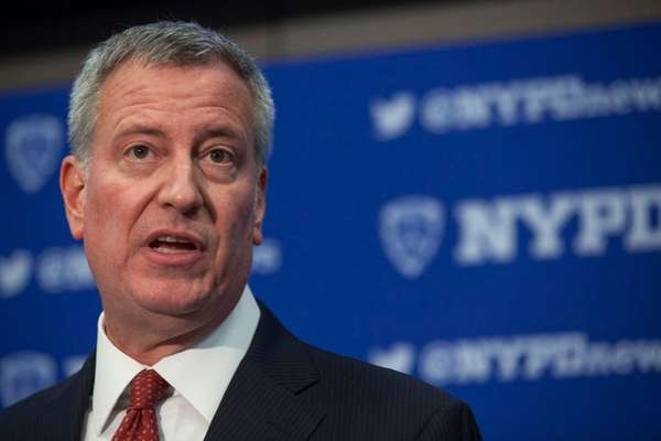 Mayor Bill de Blasio gives remarks on security