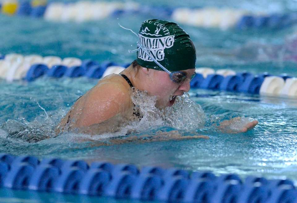 Manhasset's Gaby McIntyre swims in a preliminary heat
