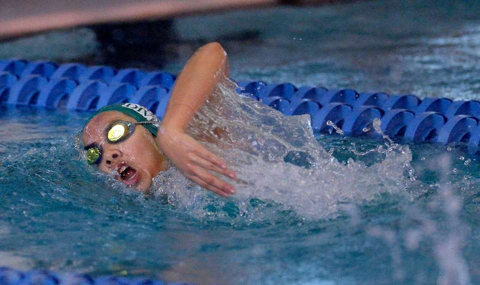 Sewanhaka's Kimberly Chan swims in a preliminary heat
