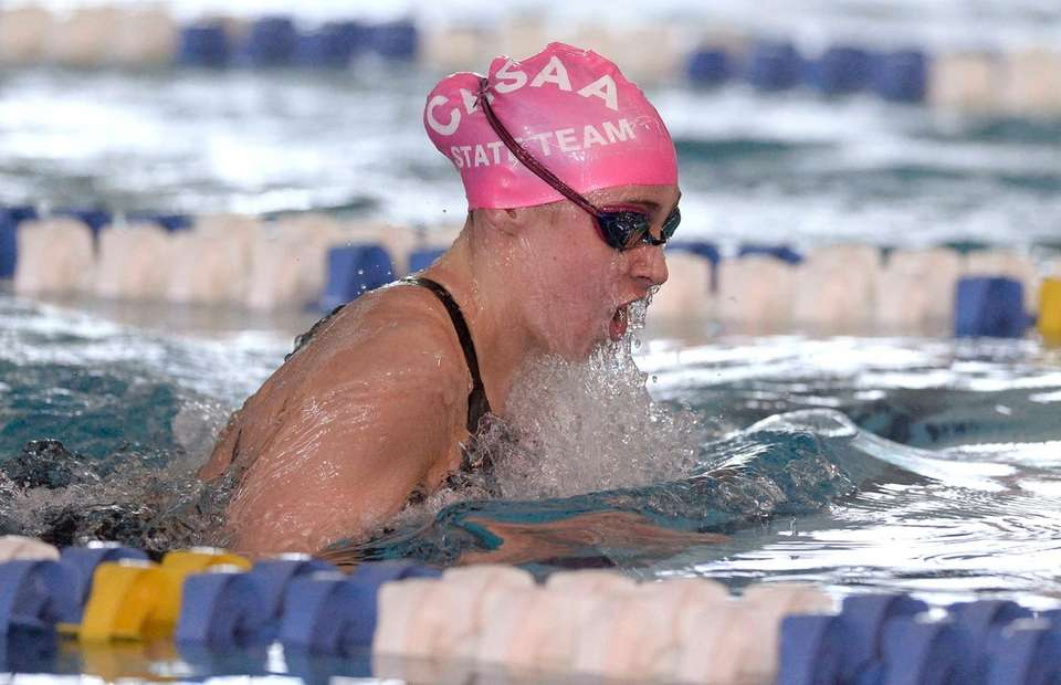 St. Anthony's Emily Bardak swims in a preliminary