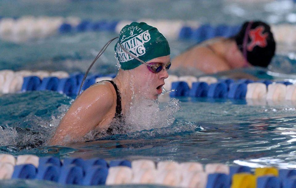 Bellmore-Merrick's Hazel Wilkins swims in a preliminary heat