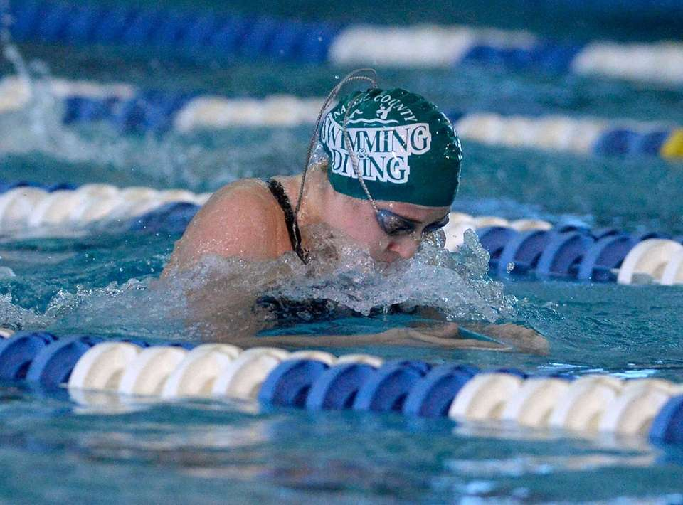Bellmore-Merrick's Georgeann Zimmerman swims in a preliminary heat