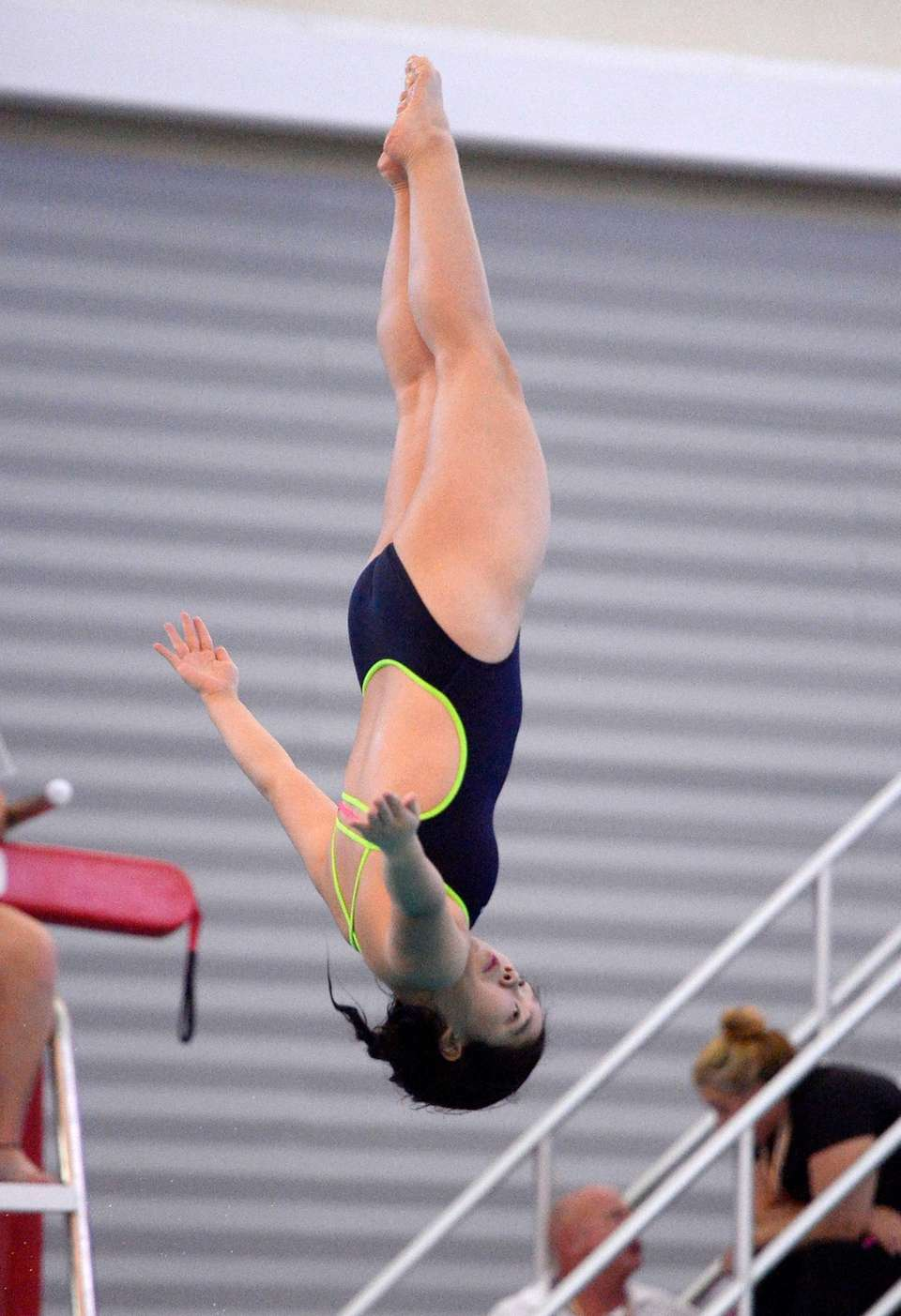 Jericho's Renee Lee performs a dive during the