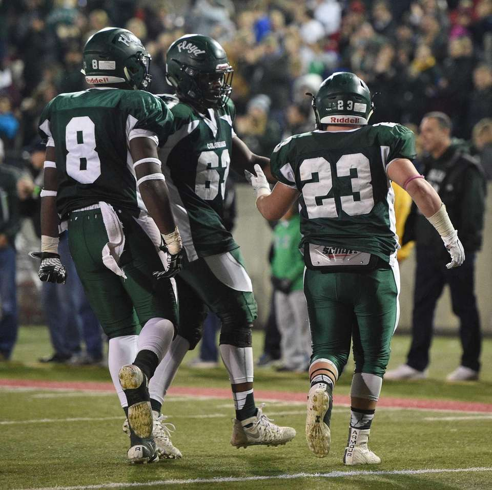 William Floyd running back Nick Silva, right, is