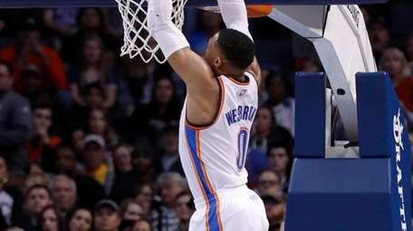 Oklahoma City's Russell Westbrook gets two of his